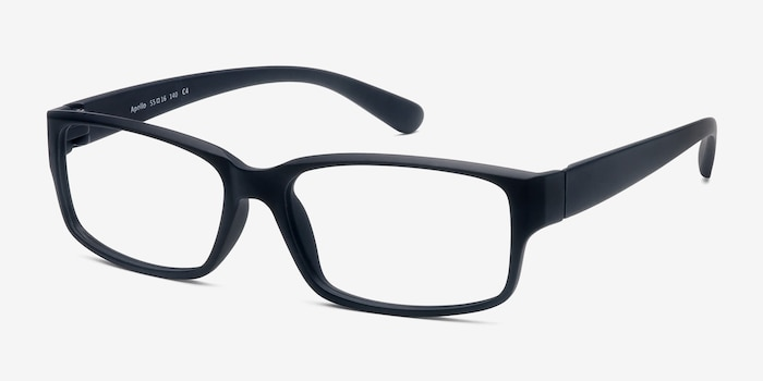 Apollo Matte Navy Plastic Eyeglass Frames from EyeBuyDirect, Angle View