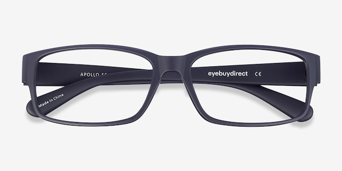 Apollo Matte Navy Plastic Eyeglass Frames from EyeBuyDirect, Closed View