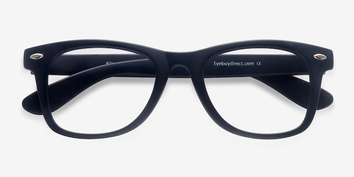 Atlee Matte navy Plastic Eyeglass Frames from EyeBuyDirect, Closed View