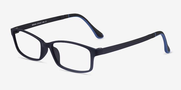 Broad Navy Plastic Eyeglass Frames from EyeBuyDirect, Angle View