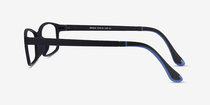 Broad Navy Plastic Eyeglass Frames from EyeBuyDirect, Side View