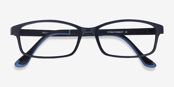 Broad Navy Plastic Eyeglass Frames from EyeBuyDirect, Closed View