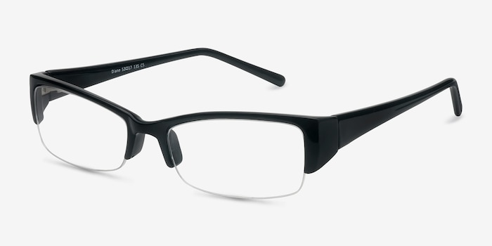 Diane  Black  Plastic Eyeglass Frames from EyeBuyDirect, Angle View