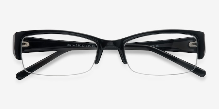 Diane  Black  Plastic Eyeglass Frames from EyeBuyDirect, Closed View
