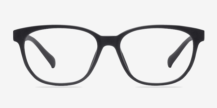 Moody Matte Black Plastic Eyeglass Frames from EyeBuyDirect, Front View