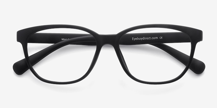 Moody Matte Black Plastic Eyeglass Frames from EyeBuyDirect, Closed View