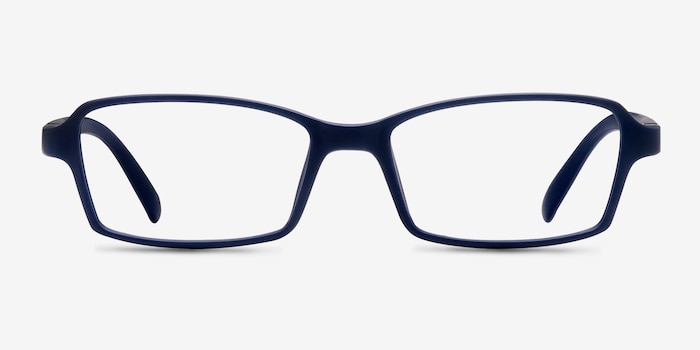 Ricki Matte Navy Plastic Eyeglass Frames from EyeBuyDirect, Front View