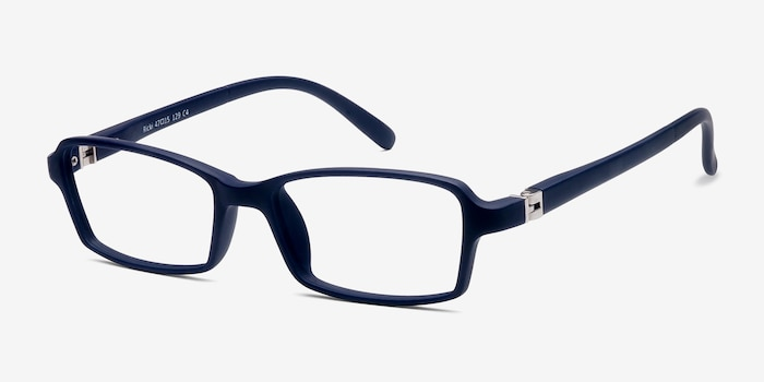 Ricki Matte Navy Plastic Eyeglass Frames from EyeBuyDirect, Angle View