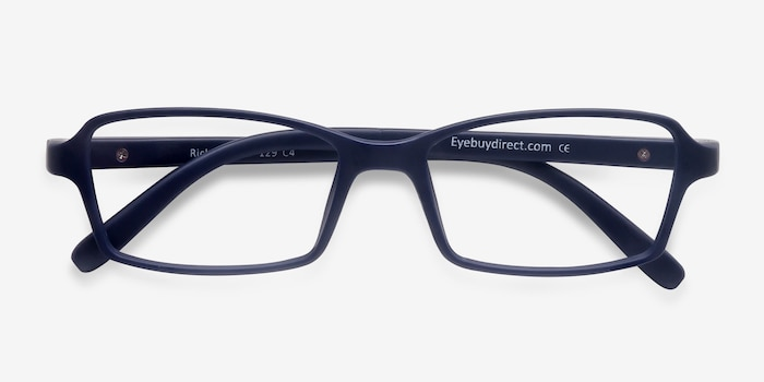 Ricki Matte Navy Plastic Eyeglass Frames from EyeBuyDirect, Closed View