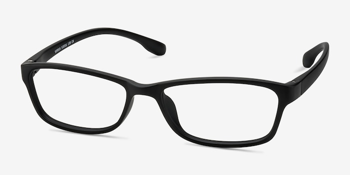 Versus Matte Black Plastic Eyeglass Frames from EyeBuyDirect, Angle View
