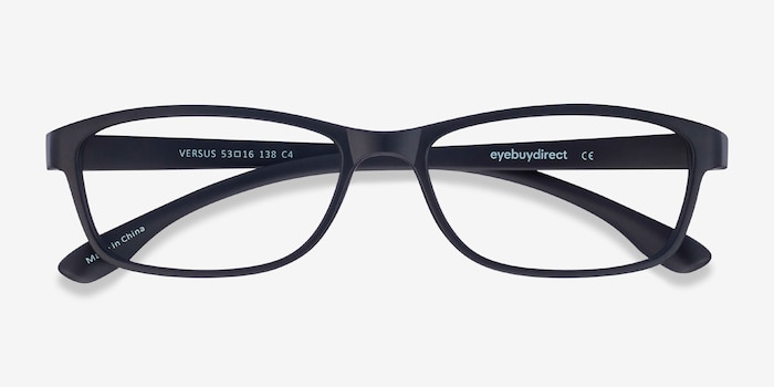 Versus Matte Black Plastic Eyeglass Frames from EyeBuyDirect, Closed View