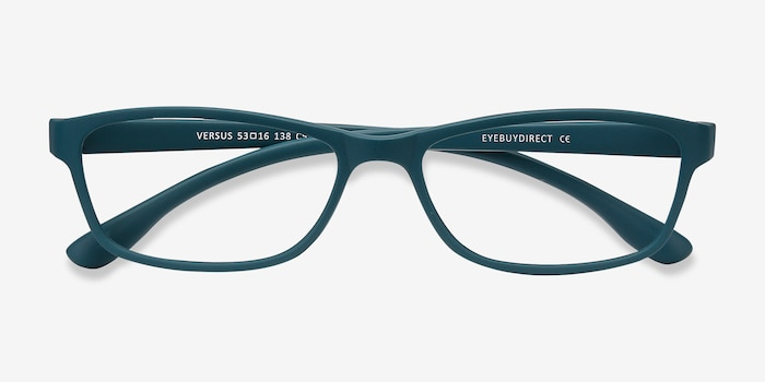 Versus Matte Green Plastic Eyeglass Frames from EyeBuyDirect, Closed View
