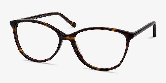 Charlize Tortoise Acetate Eyeglass Frames from EyeBuyDirect, Angle View