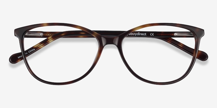 Charlize Tortoise Acetate Eyeglass Frames from EyeBuyDirect, Closed View