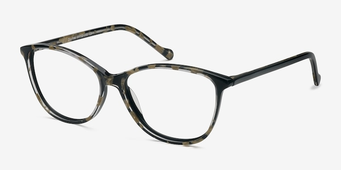 Charlize Floral Acetate Eyeglass Frames from EyeBuyDirect, Angle View