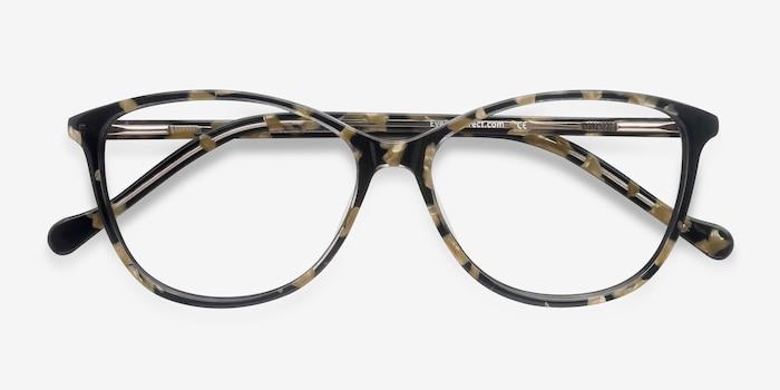 Charlize Fleuries Acétate Montures de Lunettes d'EyeBuyDirect, Vue Rapprochée