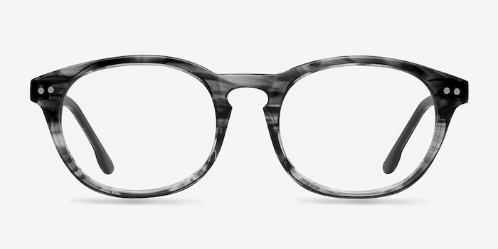 Little Things Gray Striped Acetate Eyeglass Frames from EyeBuyDirect, Front View