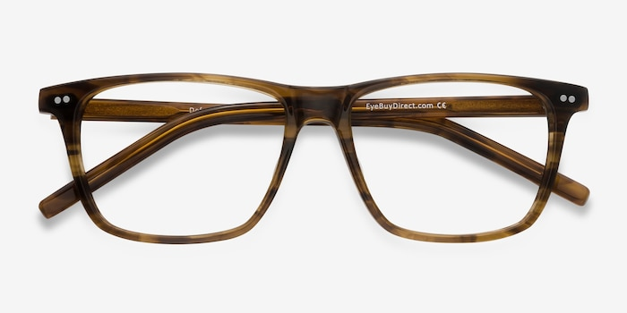 Default Brown Striped Acetate Eyeglass Frames from EyeBuyDirect, Closed View