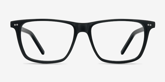 Default Black Acetate Eyeglass Frames from EyeBuyDirect, Front View