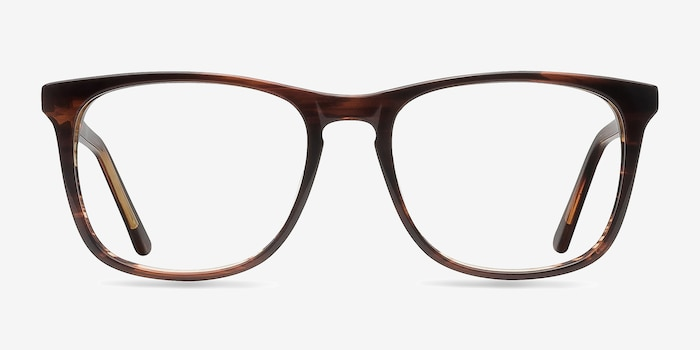 Skyline Brown Striped Acetate Eyeglass Frames from EyeBuyDirect, Front View