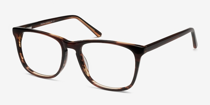 Skyline Brown Striped Acétate Montures de Lunettes d'EyeBuyDirect, Vue d'Angle