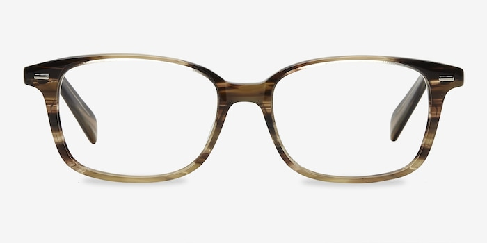 Sway Brown Striped Acetate Eyeglass Frames from EyeBuyDirect, Front View