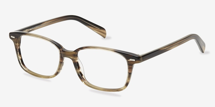 Sway Brown Striped Acetate Eyeglass Frames from EyeBuyDirect, Angle View