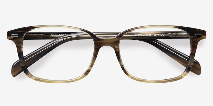 Sway Brown Striped Acetate Eyeglass Frames from EyeBuyDirect, Closed View
