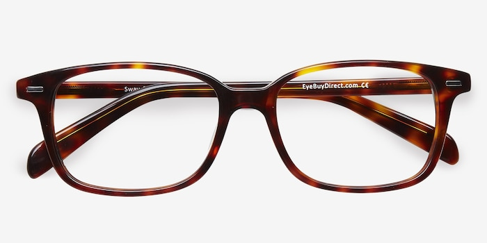 Sway Tortoise Acetate Eyeglass Frames from EyeBuyDirect, Closed View