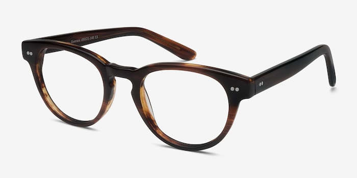 Oversea  Brown Striped  Acetate Eyeglass Frames from EyeBuyDirect, Angle View