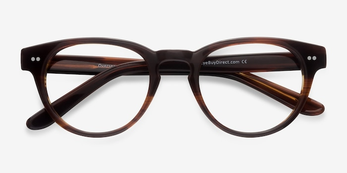 Oversea  Brown Striped  Acetate Eyeglass Frames from EyeBuyDirect, Closed View
