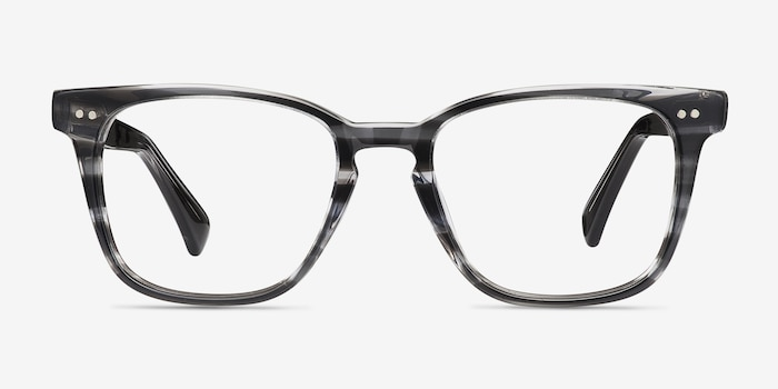 Samson  Gray Striped  Acetate Eyeglass Frames from EyeBuyDirect, Front View