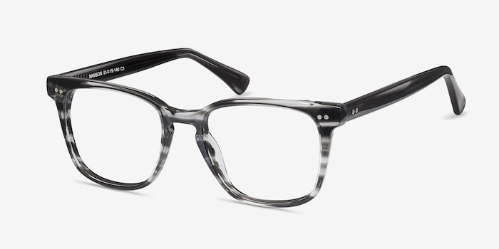 Samson  Gray Striped  Acetate Eyeglass Frames from EyeBuyDirect, Angle View
