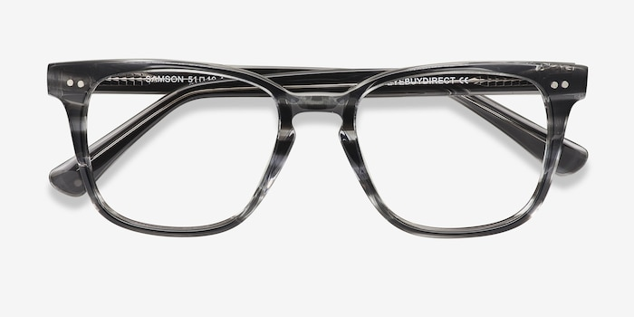 Samson  Gray Striped  Acetate Eyeglass Frames from EyeBuyDirect, Closed View