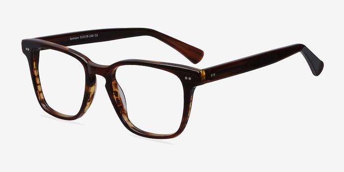 Samson Brown Acetate Eyeglass Frames from EyeBuyDirect, Angle View