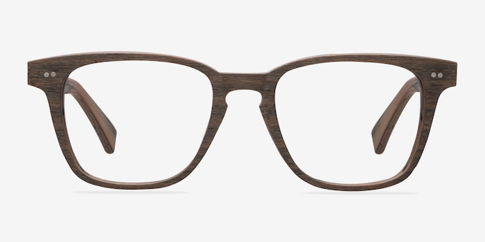 Samson  Brown Striped  Wood-texture Montures de Lunettes d'EyeBuyDirect, Vue de Face