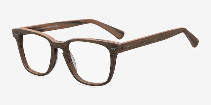 Samson  Brown Striped  Wood-texture Montures de Lunettes d'EyeBuyDirect, Vue d'Angle