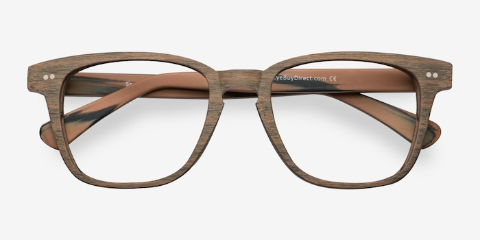Samson  Brown Striped  Acetate Eyeglass Frames from EyeBuyDirect, Closed View