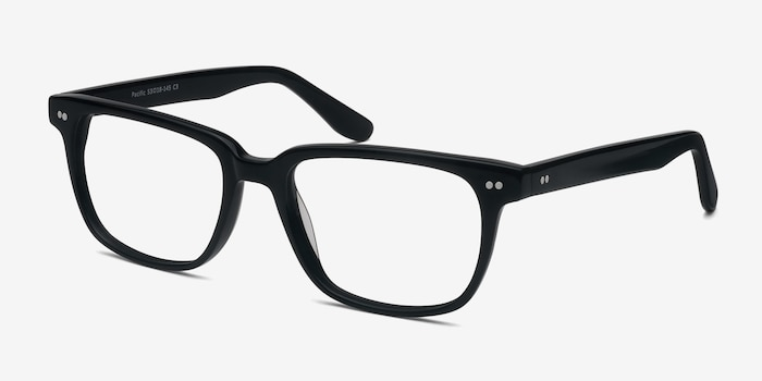 Pacific Black Acetate Eyeglass Frames from EyeBuyDirect, Angle View