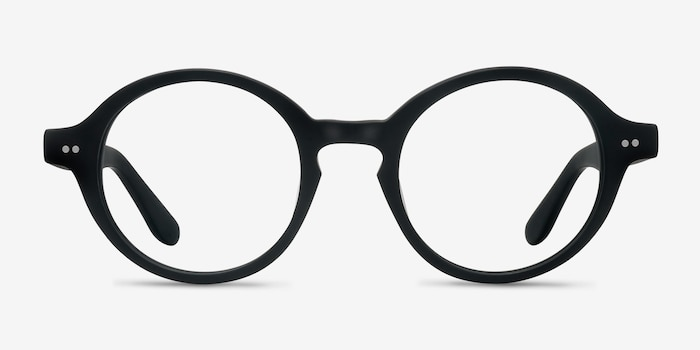 Aprem Matte Black Acetate Eyeglass Frames from EyeBuyDirect, Front View