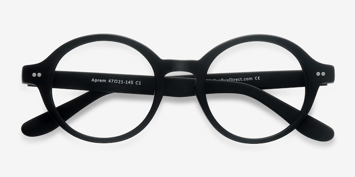Aprem Matte Black Acetate Eyeglass Frames from EyeBuyDirect, Closed View