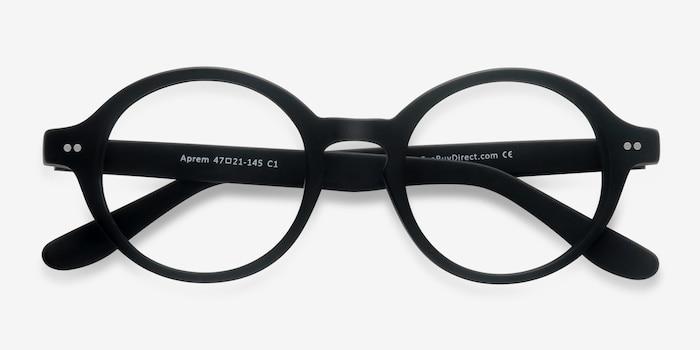 Aprem Matte Black Acétate Montures de Lunettes d'EyeBuyDirect, Vue Rapprochée
