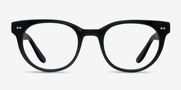 Daybreak Black Acetate Eyeglass Frames from EyeBuyDirect, Front View