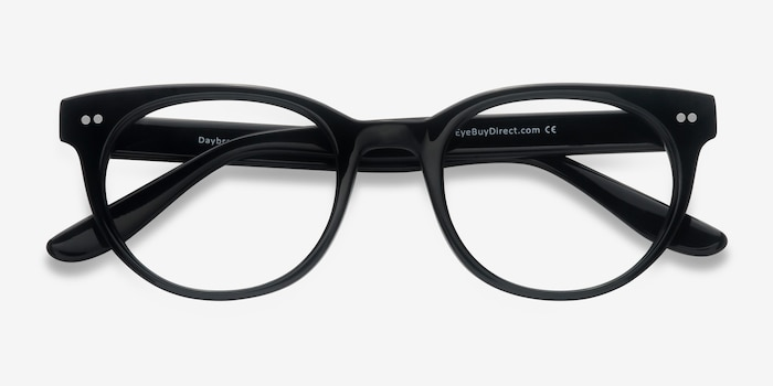 Daybreak Black Acetate Eyeglass Frames from EyeBuyDirect, Closed View