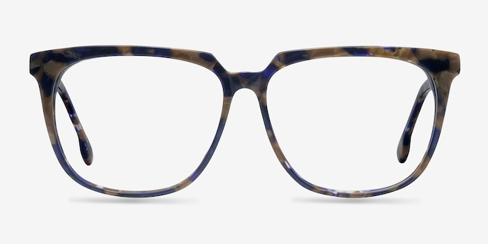 Capucine Blue Floral Acetate Eyeglass Frames from EyeBuyDirect, Front View