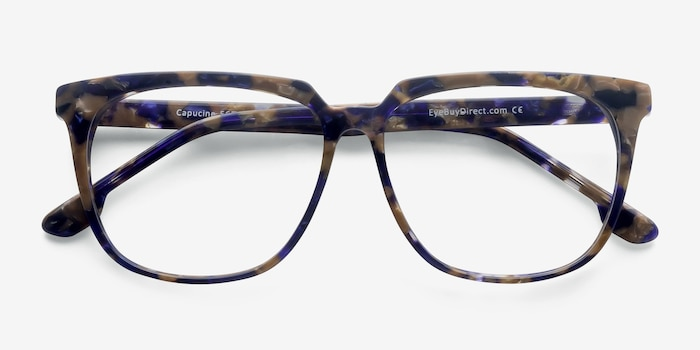 Capucine Blue Floral Acetate Eyeglass Frames from EyeBuyDirect, Closed View