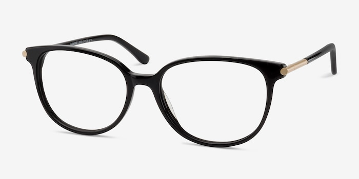 Jasmine Black Acetate Eyeglass Frames from EyeBuyDirect, Angle View