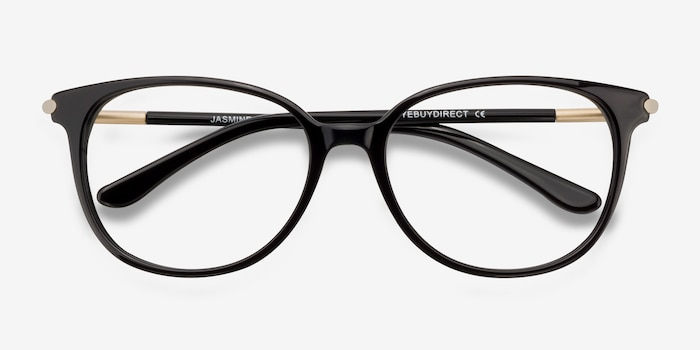 Jasmine Black Acetate Eyeglass Frames from EyeBuyDirect, Closed View