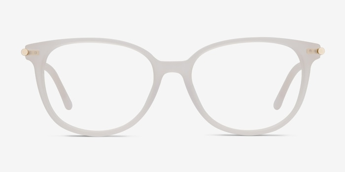 Jasmine White Acetate Eyeglass Frames from EyeBuyDirect, Front View