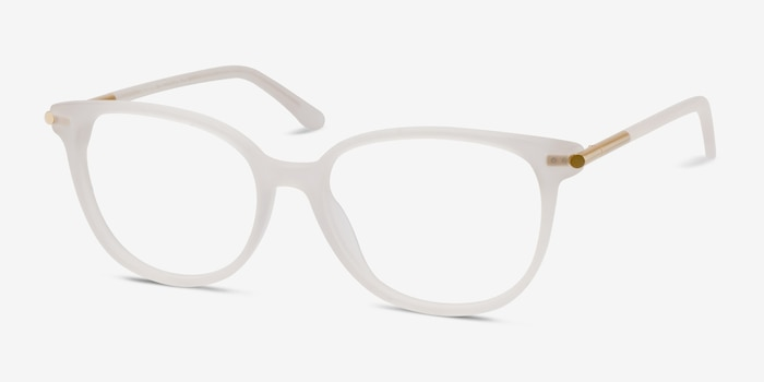 Jasmine White Acetate Eyeglass Frames from EyeBuyDirect, Angle View